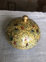 Vintage Hand Painted Paper Mache Lacquered Trinket Round Box Made in Kashmir