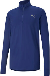 Puma Favourite Half Zip Long Sleeve Mens Running Top - Navy