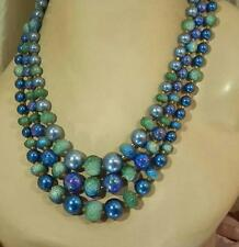 Lovely Vintage 50's Blue Hues Lucite Faux Pearl Necklace 440S5