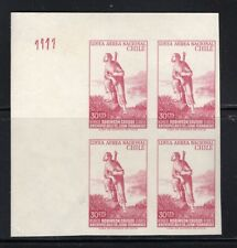CHILE 1965 RARE proof LINEA AEREA NACIONAL Robinson Crusoe block corner sheet