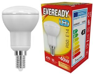 "Eveready 6.2w (=40w) LED Opal R50 Bulb €"" Small Edison Screw (SES) Warm White"