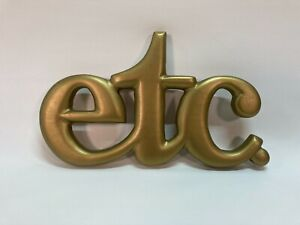 Vintage Gold Wooden Etc... Etcetera Wall Art Sign Letters Yorkraft Inc. York, PA