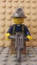 Brand NEW LEGO MINI FIGURA CITY minatore Utensil Martello pneumatico motore strumento Workman
