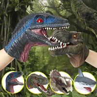 Shark Dinosaur Animal Hand Puppet Soft Stretchy Rubber Jaws Children Kids  @