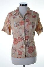 Columbia Womens Shirt Medium Beige Brown Red Floral Linen Cotton