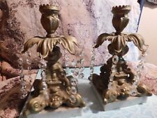 GORGEOUS ANTIQUE CANDLESTICKS BRASS AND MARBLE ITALY GORGEOUS! CRYSTALS