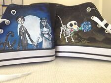 CORPSE BRIDE HAND PAINTED HIGH TOP SHOES CUSTOMISED TO ORDER