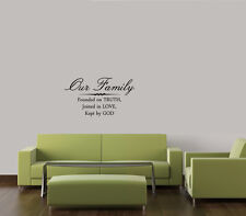OUR FAMILY FOUNDED ON BIBLE VERSE LETTERING WALL DECAL DECOR QUOTE INSPIRE