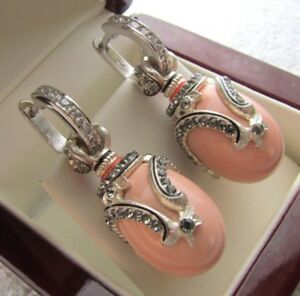 CORAL EARRINGS HANDMADE RUSSIAN SOLID STERLING SILVER 925 GORGEOUS