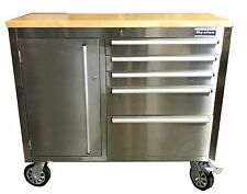 """rolling workbenches Chest tool Workstation Stainless Steel Wood Top 41"""" Cabinet"""
