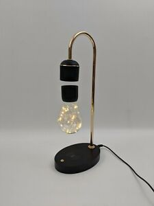 Levitating Lamp with Wireless Qi Charging Gold and Black Wood