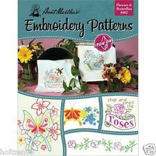 Flowers & Butterflies Aunt Martha's Hot Iron Embroidery Transfers Booklet #402