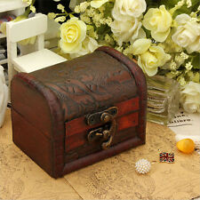1pc Handmade Wooden Box Small Metal Lock Jewelry Treasure Chest Holder Wood Case