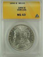 1890-P $1 Morgan Silver Dollar VAM-15A ANACS MS63 #5006530 Very Rare R6