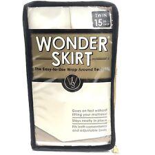 "Wrap-Around Wonderskirt Twin Size Wrinkle Resistant Bed Skirt, 15"" Drop, Ivory"