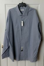 Calvin Klein Men's Long Sleeve Dress Shirt Blue/White Size 20 Tall 38/39
