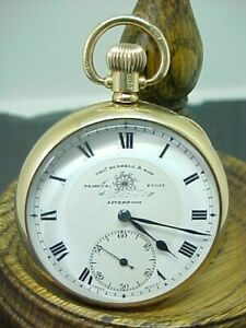 Antique Tho Russell 9ct solid gold 375 pocket watch 1923