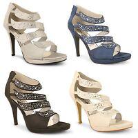 Womens Ladies Diamante Stiletto High Heel Bridal Wedding Party Prom Court Shoes