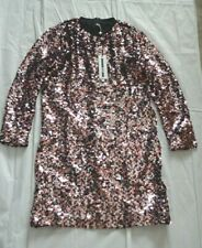 MCQ Alexander McQueen Pink Silver Sequin Embellished Shift Dress Womens IT38 UK6