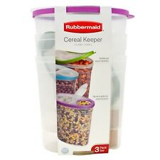 3 Pack 1.5 Gallon Rubbermaid Cereal Keeper Food Storage Plastic Containers