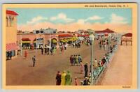 OCEAN CITY NEW JERSEY*NJ*8th & BOARDWALK*VINTAGE LINEN POSTCARD UNUSED