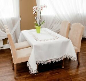 Dining Table Lace Victorian Style White  Cream Tablecloth, Wedding Decoration