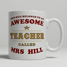 Personalised awesome teacher mug end of school term or birthday gift thank you