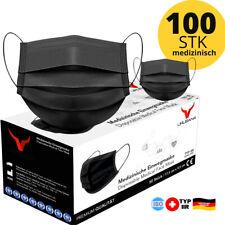 100 Medizinische OP Maske Typ IIR 2R Schwarz Mundschutz 3-lagig Einweg Masken