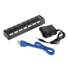 7Ports USB 3.0 Hub with On/Off Switch US AC Power Adapter for PC Laptop KE