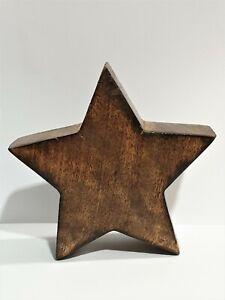 Star Wood Present Natural Carved Handmade Decor Sculpture Xmas Braun