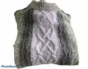 🌺WHISTLES Womens Crew Neck Merino, Alpaca Sweater Grey Lavender Sz S🌼