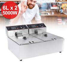 Doppel Fritteuse Friteuse Elektrische 2x2500W 2x6L Edelstahl Deep Fryer + Körbe