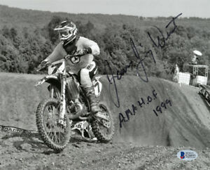 JIMMY WEINERT SIGNED 8x10 PHOTO + AMA HOF 1999 MOTOCROSS LEGEND RARE BECKETT BAS