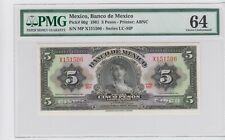 Mexico Banco de Mexico 5 Pesos 1961 P#60g  PMG 64  .CHOICE  UNC