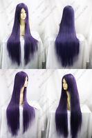 New Long Dark Purple Cosplay Straight Wig Hair 100cm