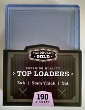 Pack of 5 - Cardboard Gold 5mm Thick 3x4 Clear Rigid Top Loaders - 190 Point