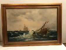 19TH CENTURY SHIP PAINTING OIL ON CANVAS ON A BOARD SIGNED