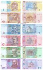 More details for ukraine 1 + 2 + 5 + 10 + 20 + 50 hryven 2011-2015 set of 6 banknotes 6 pcs unc