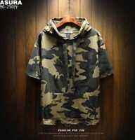 Mens Summer Short Sleeve Hooded Punk Baggy Fashion Oversize Camouflage T-shirt