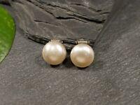 Elegante 835 Silber Ohrringe Ohrclips Perle Rund Vintage Retro Hübsch Edel