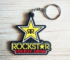 Rockstar Keychain Yellow Keyring Rubber Motorcycle Bike Car Truck ATV MTB Gift