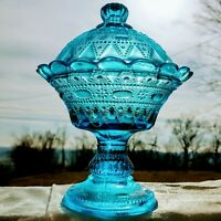 Vintage Kemple Lace & Dewdrop Blue Glass Compote Footed Dish & Lid c1945-70 USA