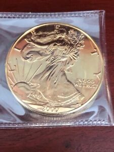 2000 24Kt Gold Gilded AMERICAN SILVER EAGLE 1 Troy Oz. .999 Fine Coin BU NR!
