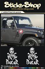 2 stickers Dakar skull decals pegatinas aufkleber auto moto 4x4 off road B004