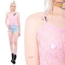 Vtg 90s Pink SHEER MESH Lace Floral Daisy Grunge Club-Kid Stretch Tank Crop Top