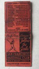 1939 San Francisco Seal Baseball PCL Matchbook Season Schedule