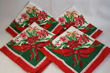 Set of Four Square Christmas Poinsettia Table Cloth Napkins Linen Placemats