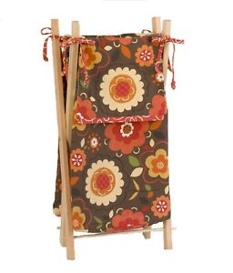 Hamper Bag with Frame Baby Girl Country Floral Garden Brown Orange Yellow