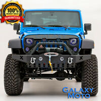 Rock Crawler Front Bumper+Fog Light Ho+Winch Plate for 07-18 Jeep Wrangler JK