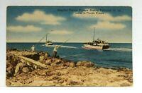 Florida Deep-Sea Fishing Cruises Fishermen On Jetties Linen Vintage Postcard